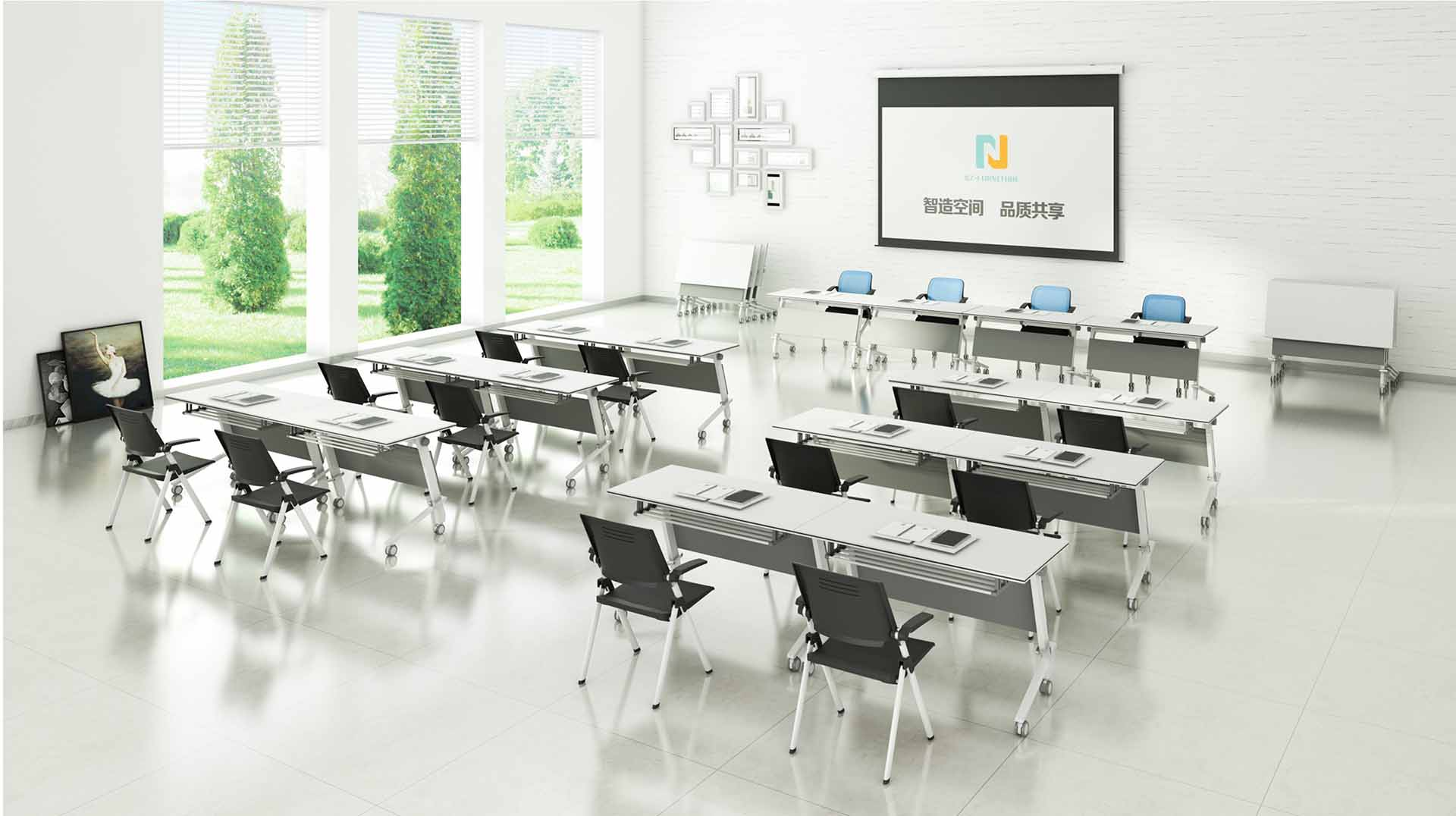 NAZ furniture computer boardroom training table with wheels-8