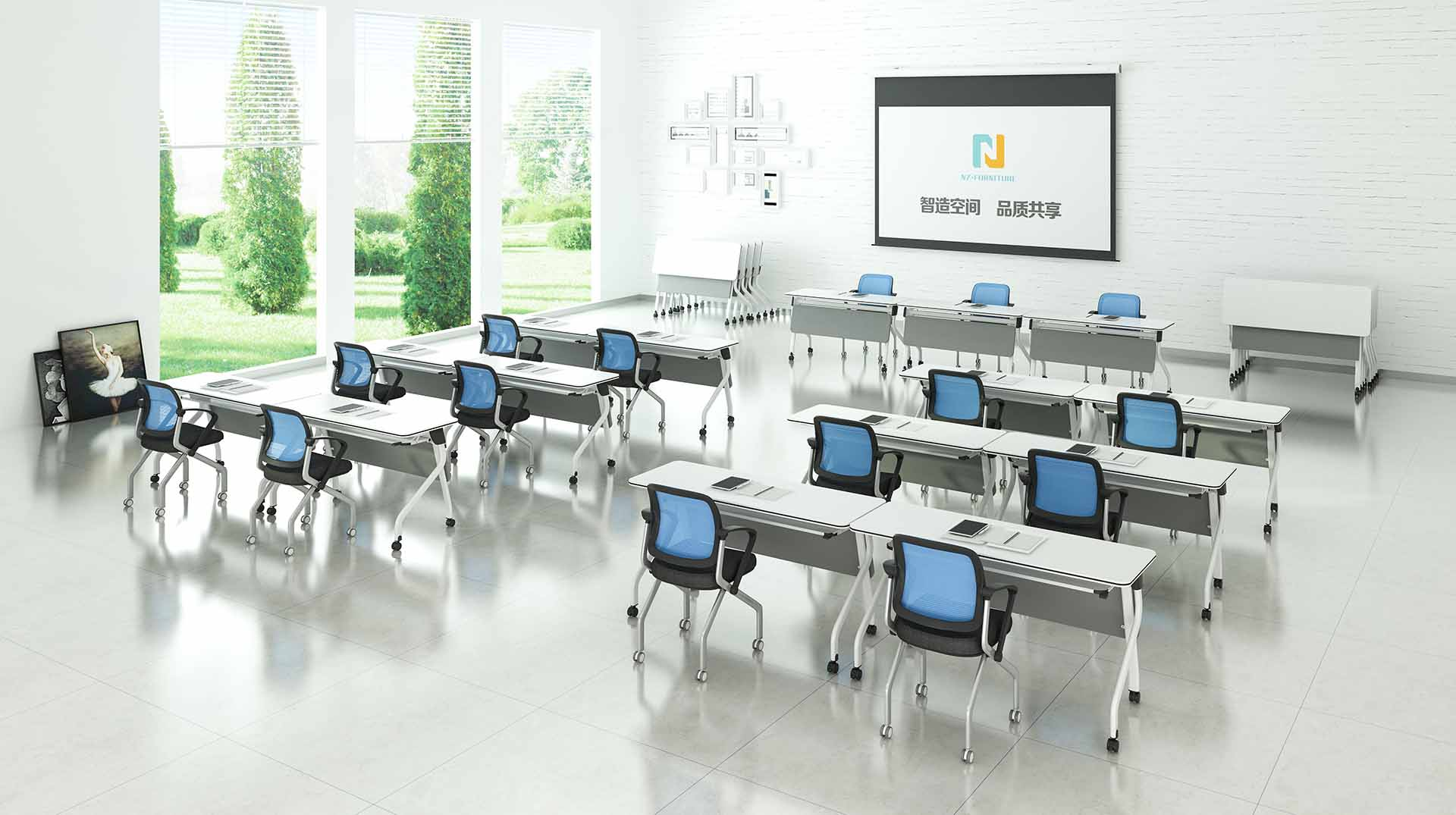 trapezoid modular training room furniture fahsion for sale for office-8