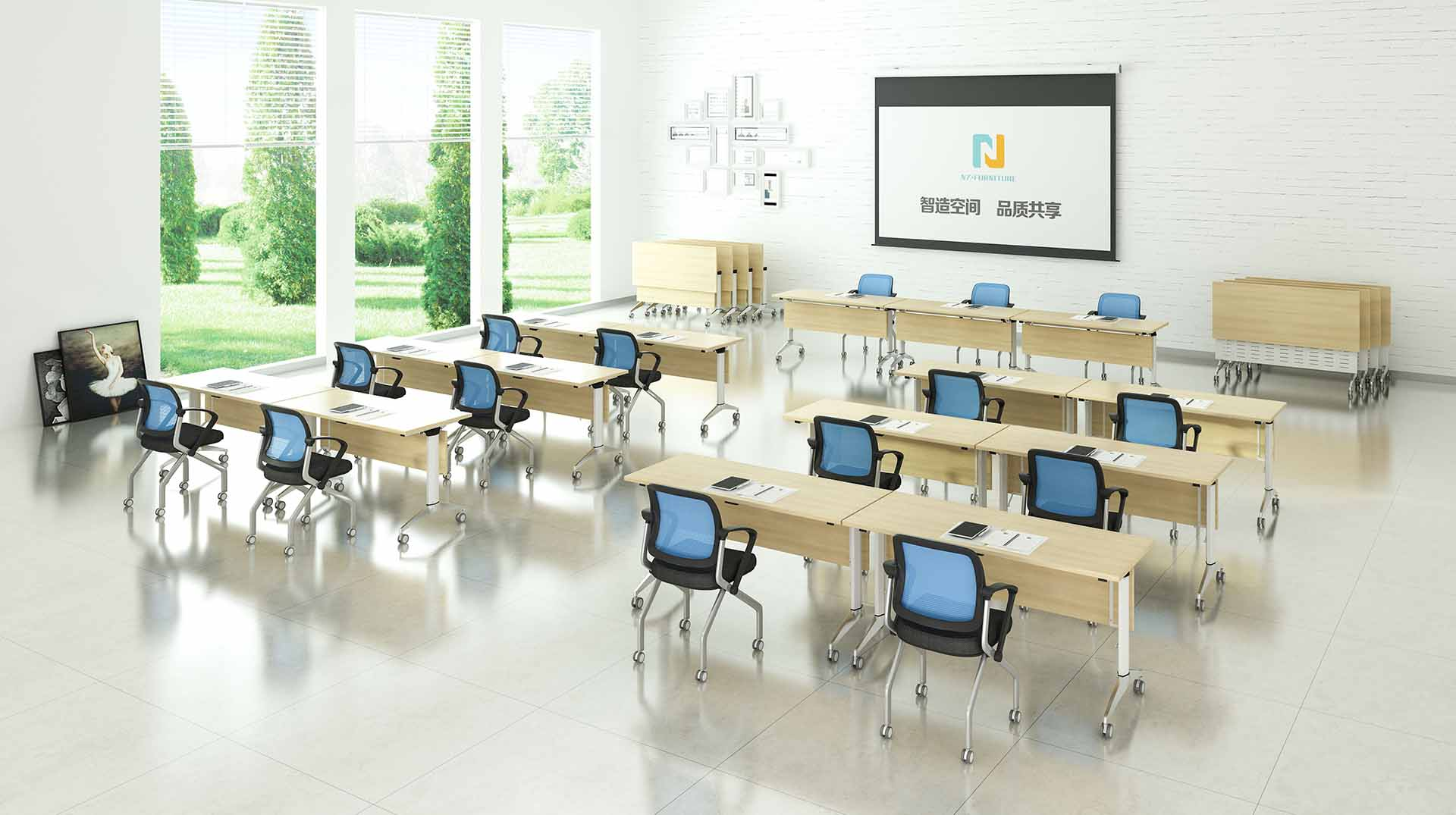 NAZ furniture computer office training room furniture wooden for school-8