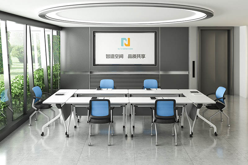 durable white conference table folding on wheels for meeting room-8