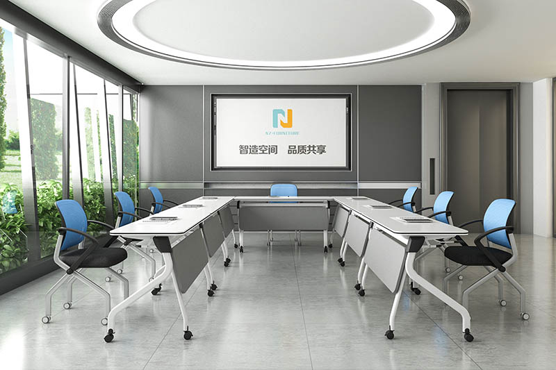 durable white conference table folding on wheels for meeting room-9