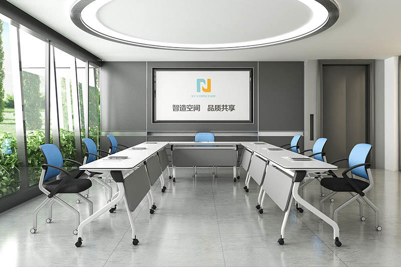 durable white conference table folding on wheels for meeting room