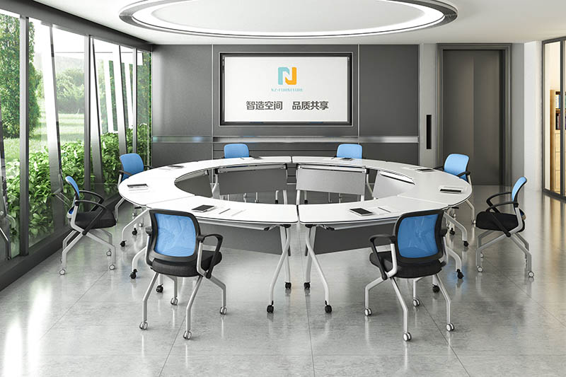 durable white conference table folding on wheels for meeting room-10