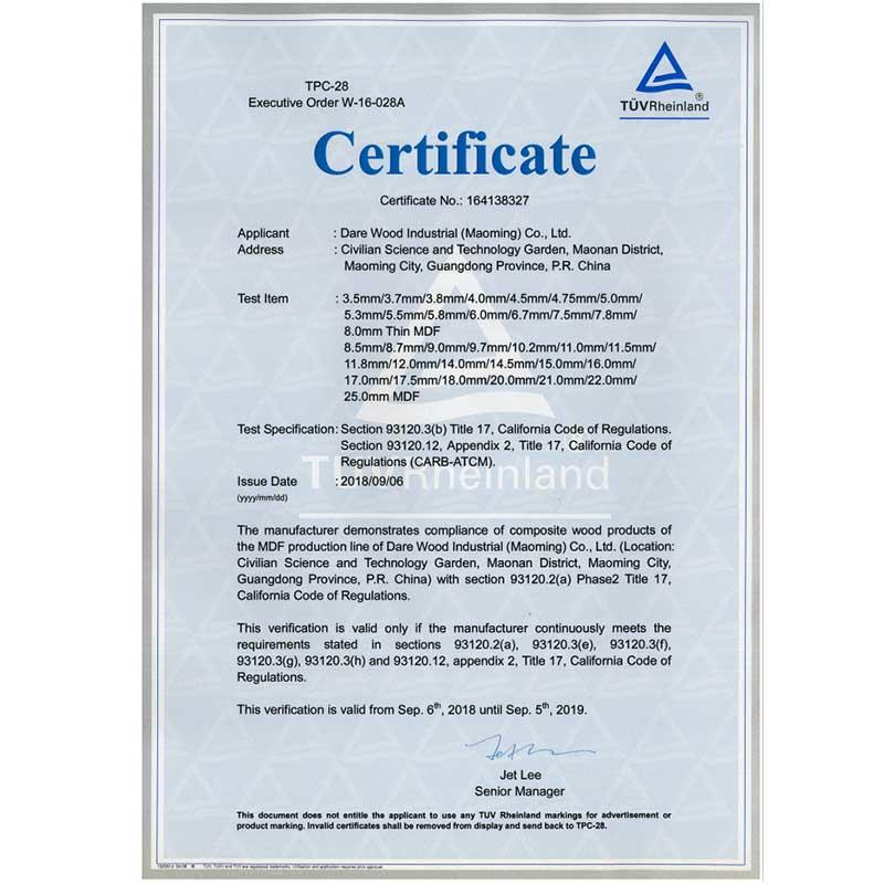 CARB certificate for Dare maoming