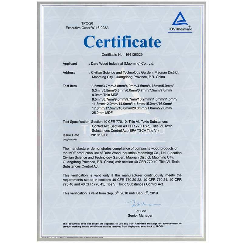 EPA certificate for Dare maoming