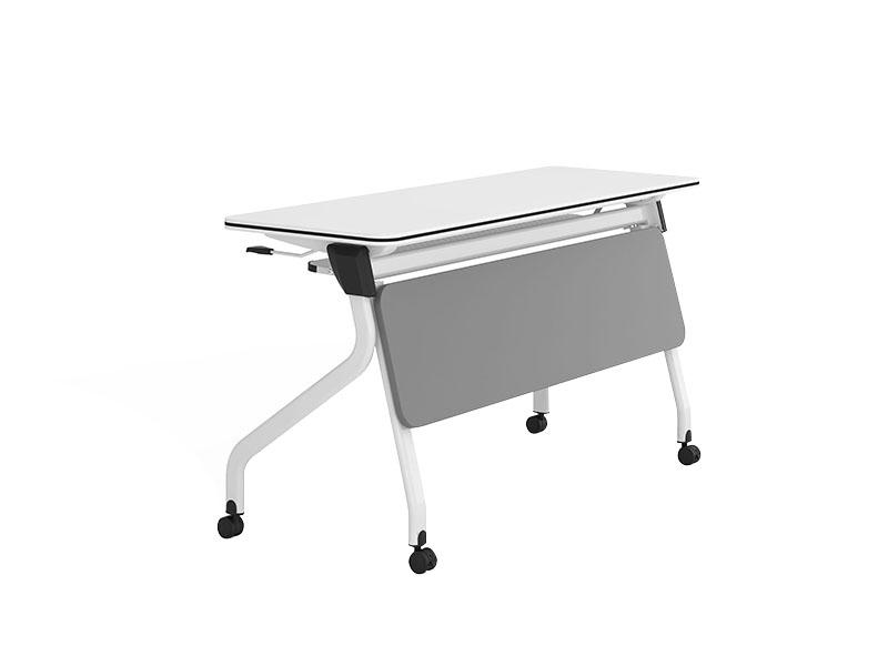 durable white conference table folding on wheels for meeting room-1