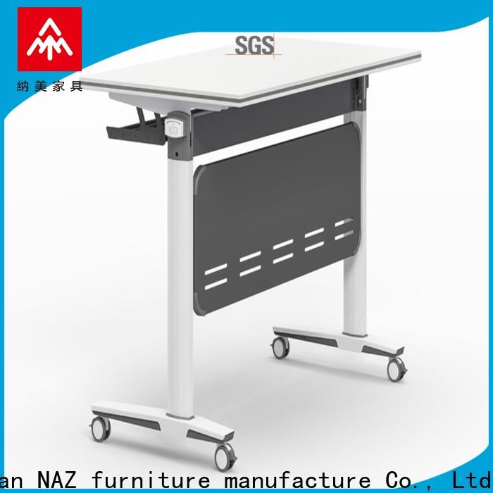 NAZ furniture trapezoid aluminum training table with wheels for meeting room