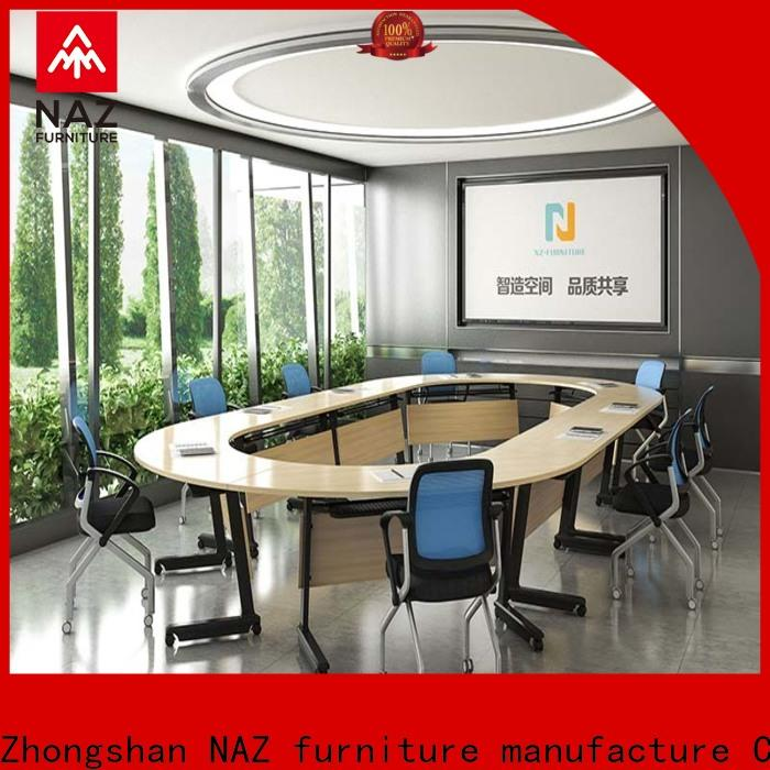 durable conference table and chairs movable on wheels for meeting room