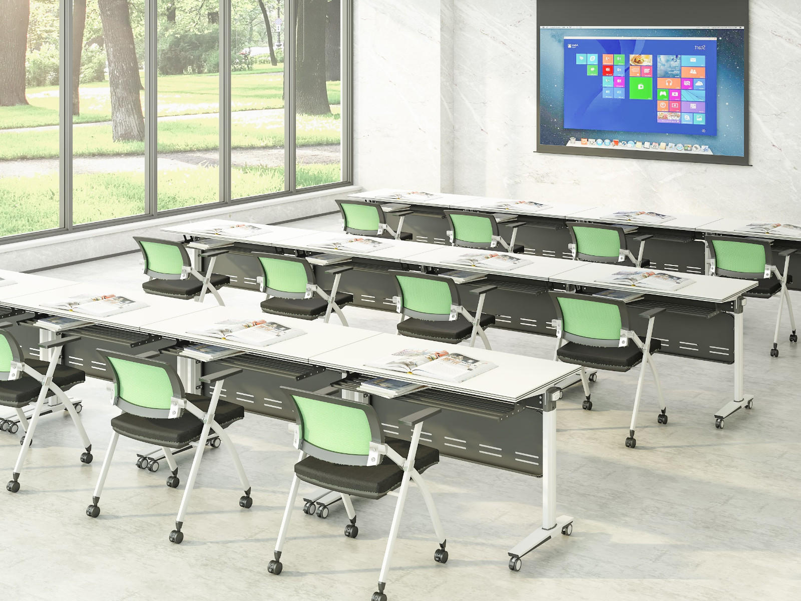 computer foldable training table panel for conference