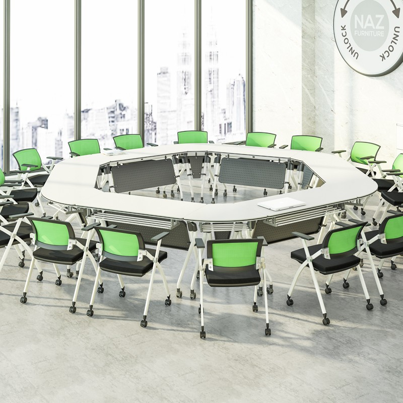 movable u shaped conference table ft010c on wheels for meeting room-8