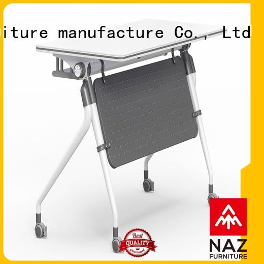 NAZ furniture trapezoid training table with wheels for training room