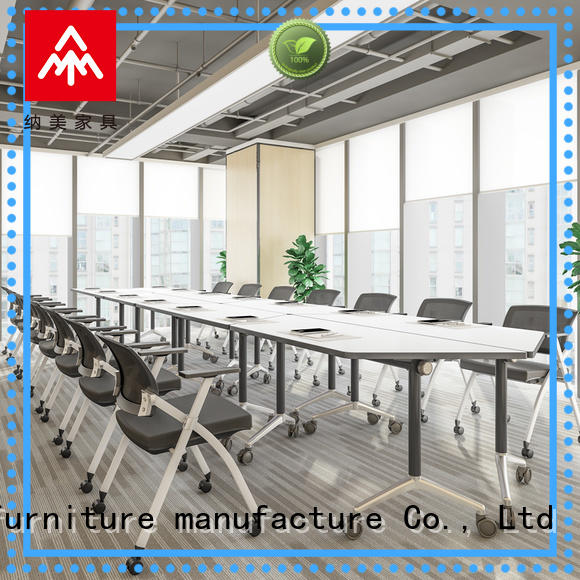 NAZ furniture movable white conference table on wheels for training room